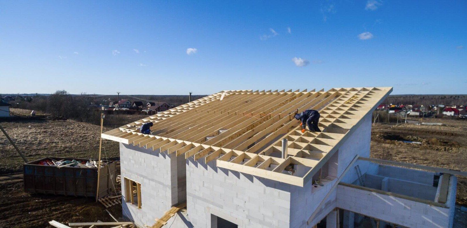 монтаж односкатной крыши